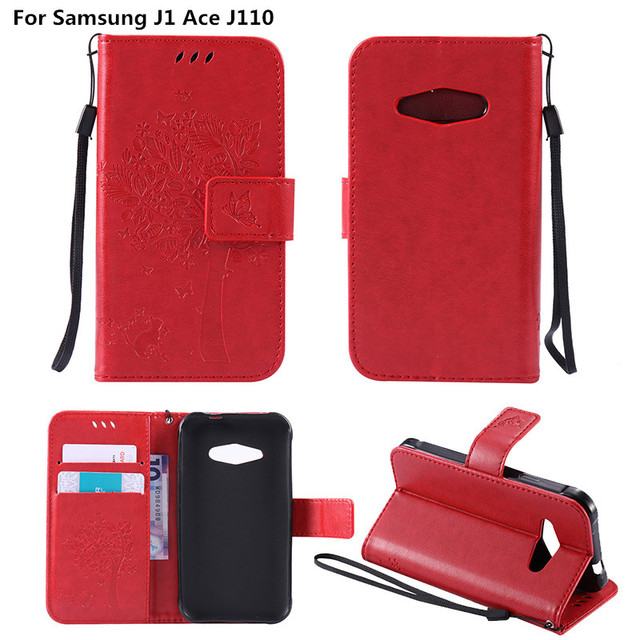 Coque For Samsung J1 Ace Embossed PU Leather Wallet Flip Cover Case For Samsung Galaxy J 1 Ace Duos J110 SM-J110F J110F J110H