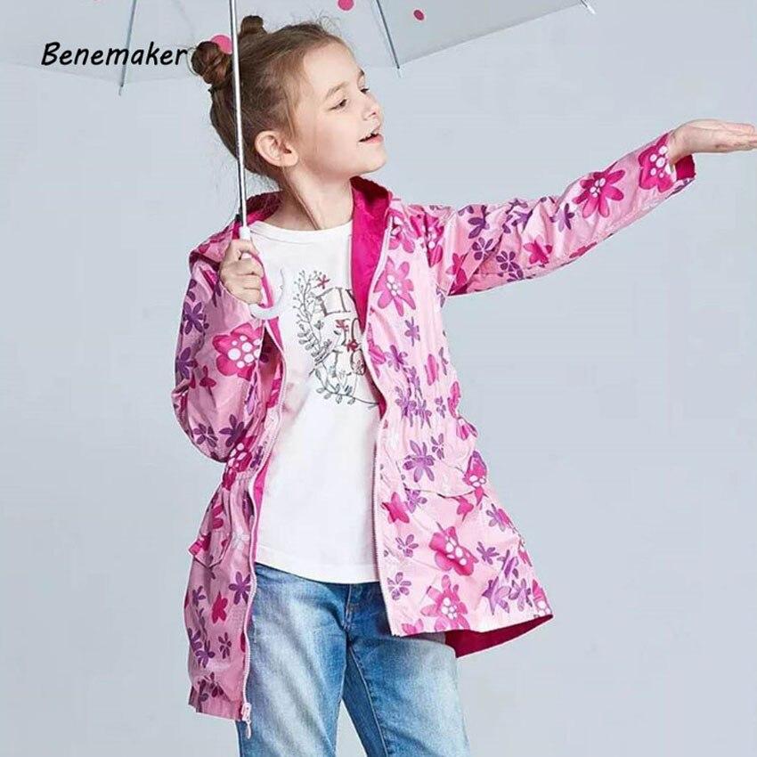 Benemaker Autumn Outdoor Fleece Jacket For Girls Waterproof Sport Children Clothing Hooded Outerwear Windbreaker Kids Coat JH093