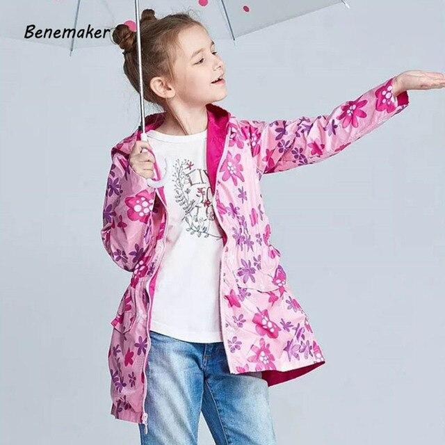 Benemaker осень куртка из флиса для девочек Водонепроницаемый детская спортивная Костюмы верхняя одежда с капюшоном ветровка Детское пальто JH093