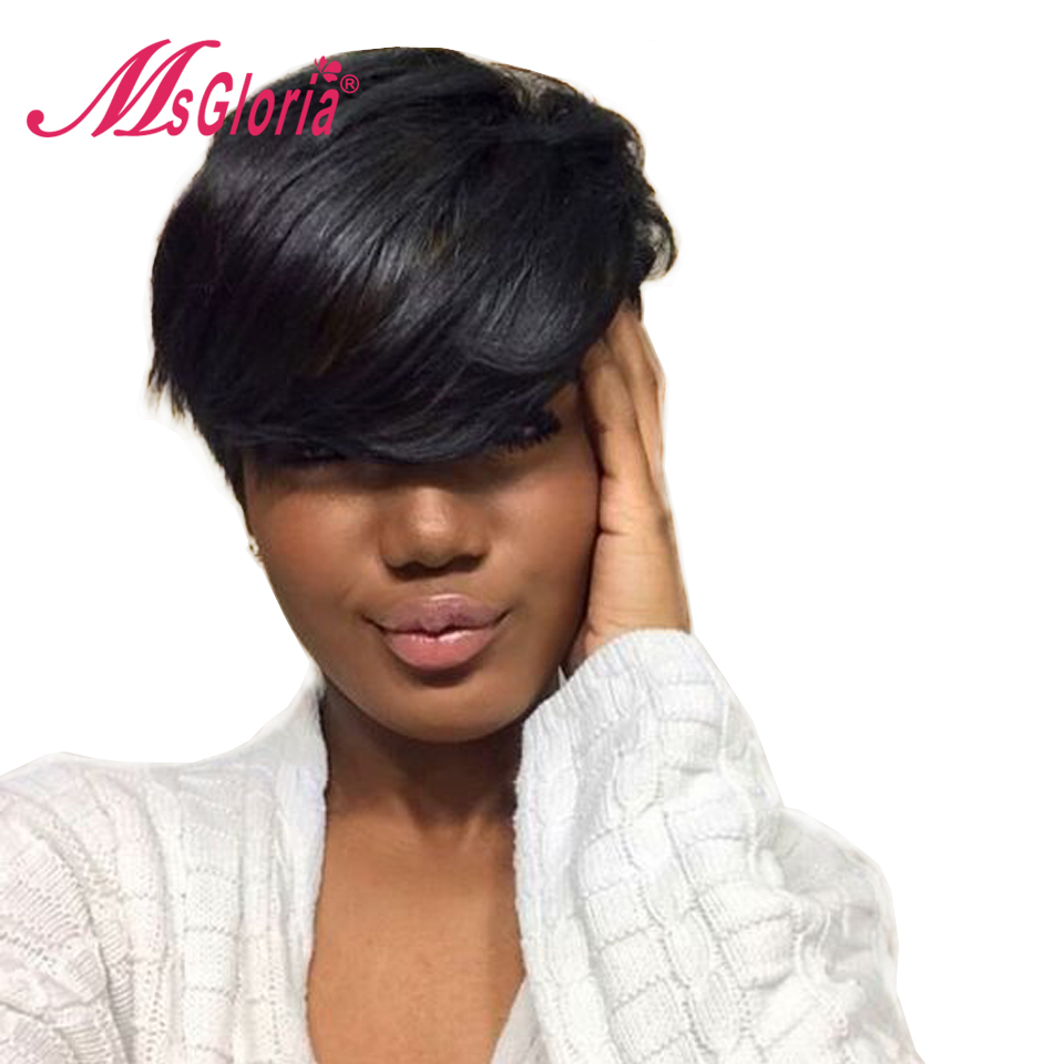 Msgloria Brazilian Remy Human Hair Lace Wig Cheap 6inch Short Straight Machine Made No Lace Wigs For Women Color #1B