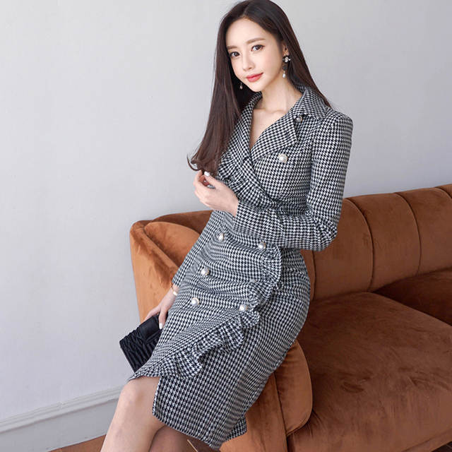 85d3a95b46d88 Office Ladies Hollow-out Hip Packaged V-neck Dress Women Elegant Splice  Fashion Knee-length Vestidos Mujer Christmas Dresses
