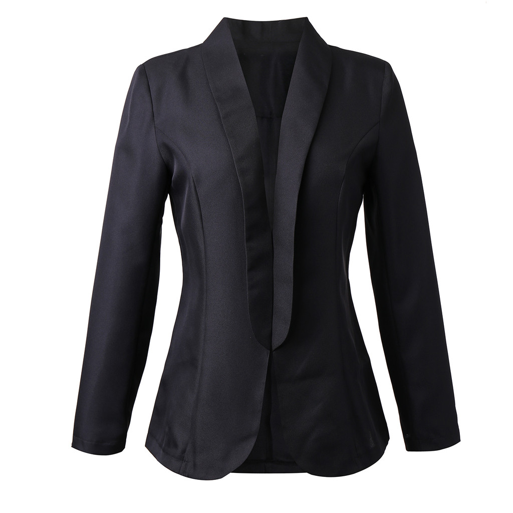HTB1TuFnaFT7gK0jSZFpq6yTkpXaO 30#Feminino Women White Long Sleeve Open Front Cardigan Suit Jacket Work Office Knit