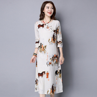 Horse Pattern Print Loose Long Sleeve White Cotton Linen Calf Length Dress Casual Spring Autumn New