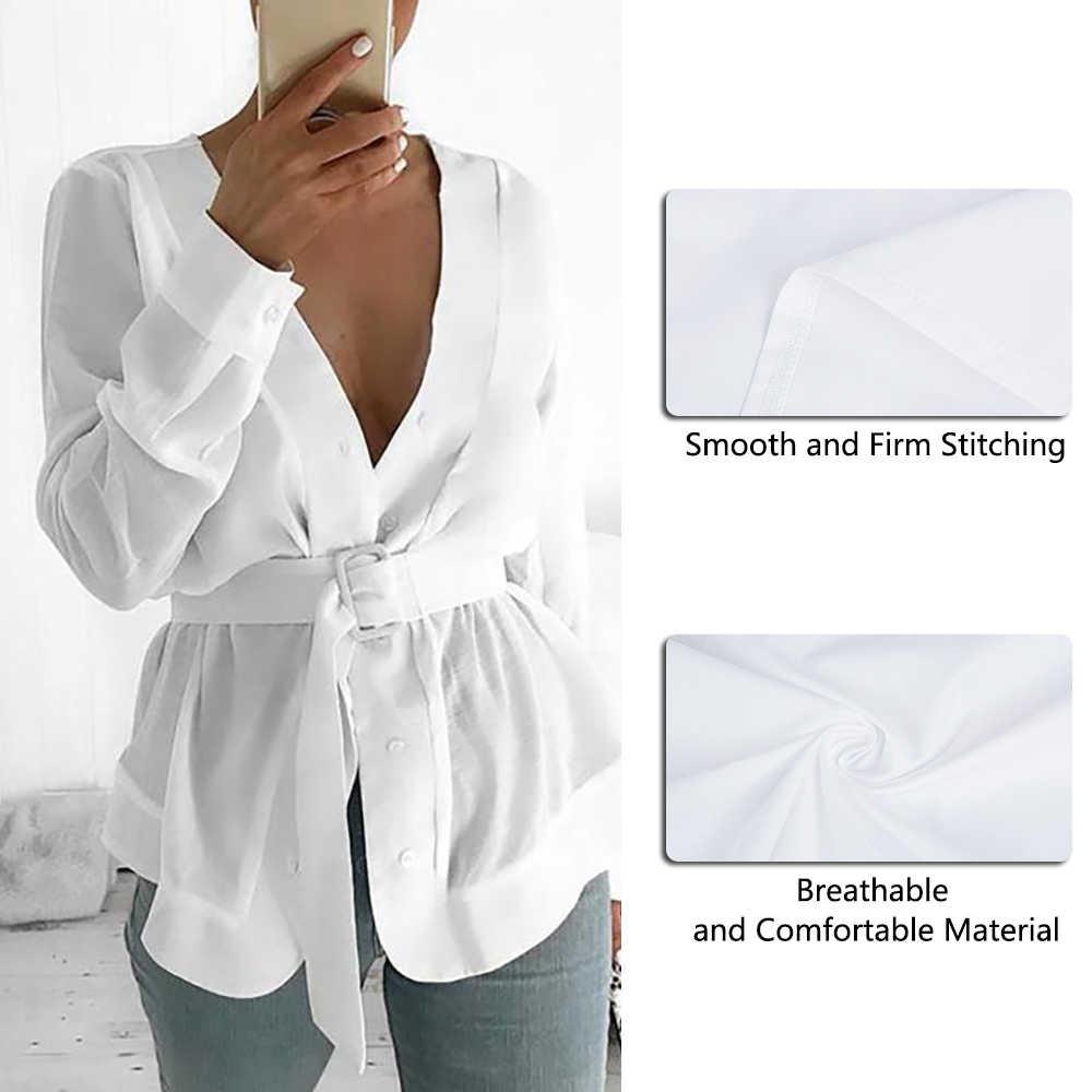 NIBESSER женский 2019 с поясом туника рубашка блузка длинный рукав баска Повседневный Топ OL Рабочая одежда Mujer Blusas белые рубашки