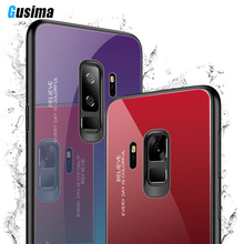 GUSIMA Luxury Tempered Glass Phone Case For Samsung Galaxy S8 S9 J4 J6 J8 Plus Note 8 9 A6 A7 A8 2018 Cases Gradient color Shell