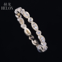 HELON Pave Real Natural Diamonds Engagement Ring Solid 10K Yellow Gold Women's Anniversary Wedding Diamonds Band Fine Jewelry