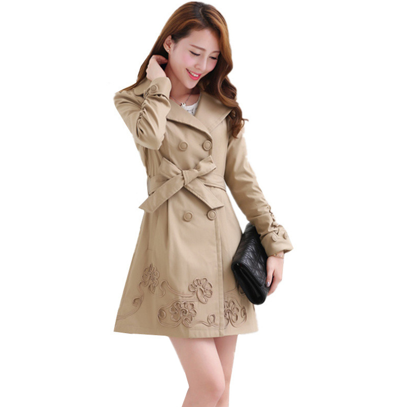 Trench   Coat Female 2018 Autumn Winter Women Fashion Wlid Was Thin Double Breasted Long Coat Spring Casual Slim Waist Windbreaker