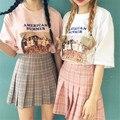 2016 Summer Vintage Women Skirt Saias Na Altura Do Joelho Pleated Skirt Fashion etek  Leisure Lolita High Waist Plaid Skirt S-L