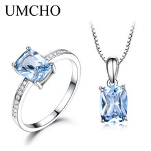 UMCHO  Pure Solid 925 Sterling Silver Set Ring Pendants Necklaces For Women Sky Blue Topaz Jewelry Set Engagement Party Gift 925 pure silver christmas bells silver pendants