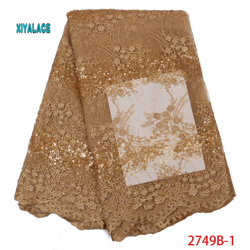 Golden 2019 Nigerian African Lace Fabric High Quality French Sequins Lace Fabric Velvet Fabric Lace Fabrics Wedding YA2749B-1