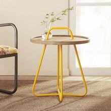 Simple lifting type iron wood tea table  button corner sofa  creative pine round coffee table