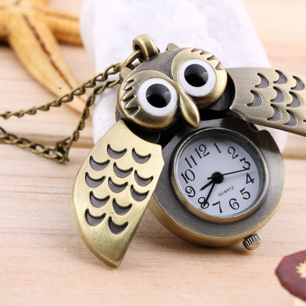 OUTAD Unique Design Cartoon Retro Bronze Owl Pocket Watch Sweater Chain Necklace Slide Watch Relogio De Bolsob Unisex Kids Gifts