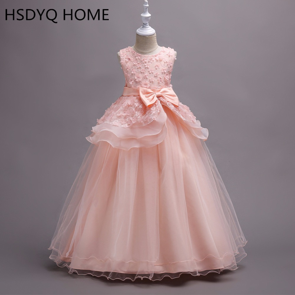 HSDYQ HOME Cheap real photo Ball Gown Long   Flower     Girl     Dresses   Princess Tulle Lace   Girls     Dresses   2018 In Stock