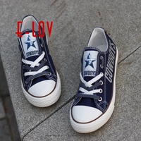 Hot Sale Dallas Cowboys Team USA Canvas Shoes Drop Shipping Print Casual Shoes Graffiti Canvas Shoes