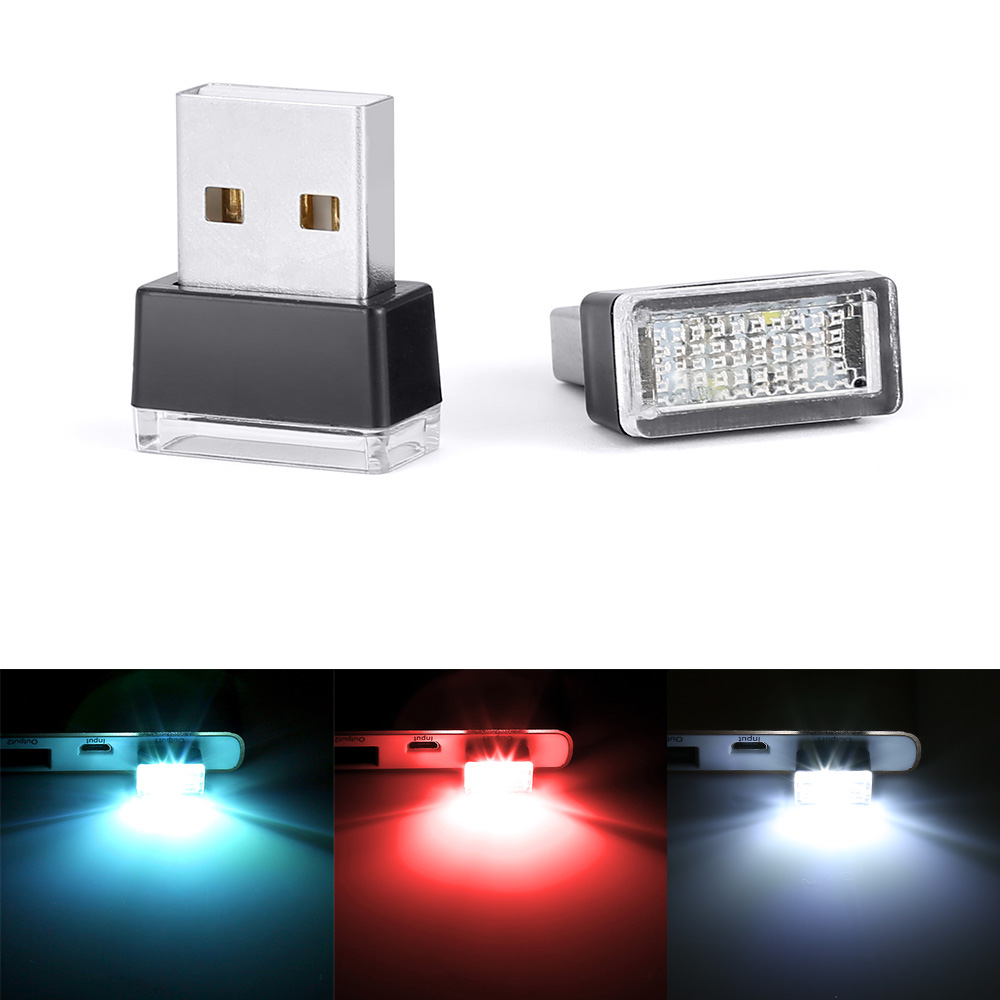 1 Piece Car USB LED Atmosphere Lights Decorative Lamp Emergency Lighting Universal PC Portable Plug and Play Red/Blue/White universal 4 in 1 whoelsale 12 v cool fashion romantic led blue car decorative lights charge led interior decoration lights lamp