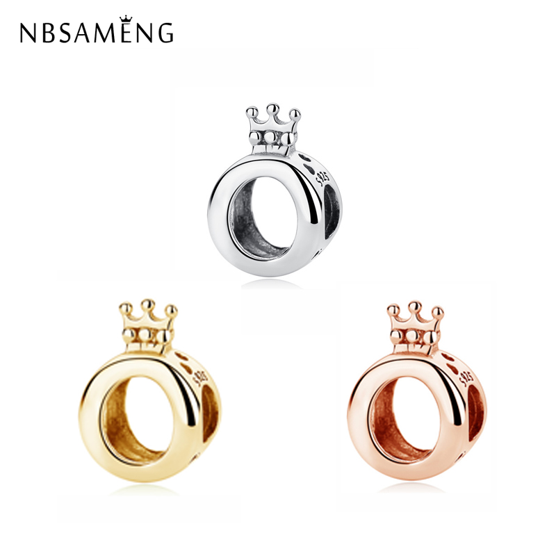 63cf177ca NBSAMENG Original 100% 925 Sterling Silver Bead Charm Crown O Charms Rose  Gold Princess Fit Pandora Bracelets Women Diy Jewelry
