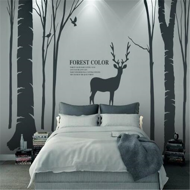 Japanese Style Wallpapers Cartoon Elk Photo Stereoscopic Wall Paper Simple Forest For Living Room