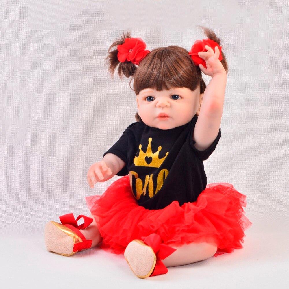 Exclusivo 23' 57 cm Reborn Baby Girl cuerpo completo de silicona Reborn muñecas realistas niños Playmates bebé juguetes niña cumpleaños regalos-in Muñecas from Juguetes y pasatiempos    2