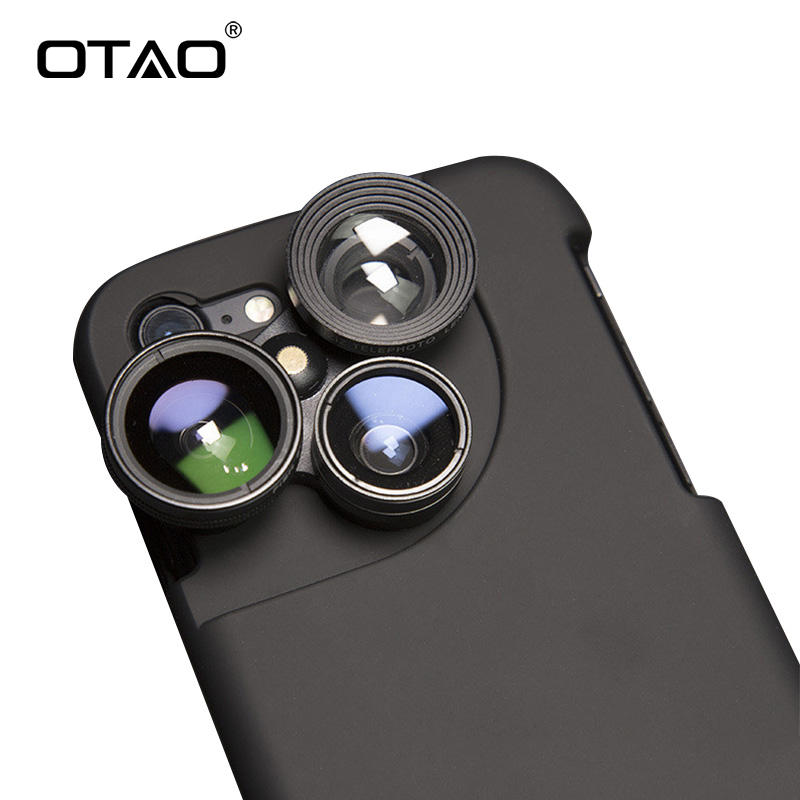 OTAO 4 in 1 Mobile Phone Lensese Cases Full Coverage For iPhone X 8 7 6S 6 Plus Wide Angle Macro Fisheye Phone Lenses Black Case mobile phone