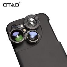 OTAO 4 en 1 fundas Lensese de teléfono móvil cobertura completa para iPhone 7 6X8 S 6 Plus gran angular Macro ojo de pez lentes de teléfono funda negra