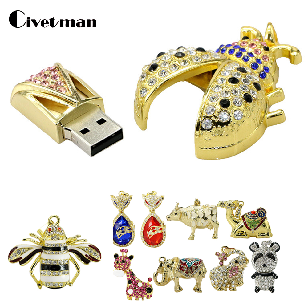 11 Style Animal Panda USB Flash Drive 4GB 8GB 16GB 32GB 64GB USB2.0 Pen Drive Ladybug Shape Crystal Beetle Pendrive Memory Stick
