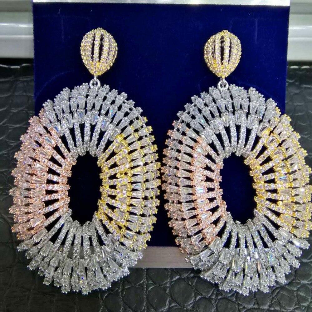 GODKI nouveau luxe feux d'artifice nigérian Long Dangle boucles d'oreilles pour les femmes de mariage Zircon cristal CZ Dubai or nuptiale boucle d'oreille 2019