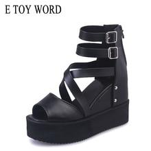Купить с кэшбэком E TOY WORD Wedges Platform Sandals Women fish mouth High Heels Gladiator Buckle Summer Sandals Women Shoes Women Sandals