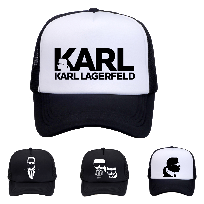 Designer Karl Lagerfeld   cap   men Women   Baseball     caps   Print Mesh Net Trucker Sun Hat cool Mesh Adjustable snapback hats Bone