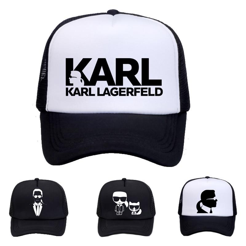 Designer de Karl Lagerfeld cap Camionista Chapéu de Sol Das Mulheres dos homens bonés de Beisebol Impressão Malha Net Malha legal Ajustável snapback chapéus Osso