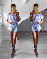 Fashion Sexy Women Slash Neck Striped Print Tunic Ruffles Playsuit Femme Romper Jumpsuit Lady Beach Summer