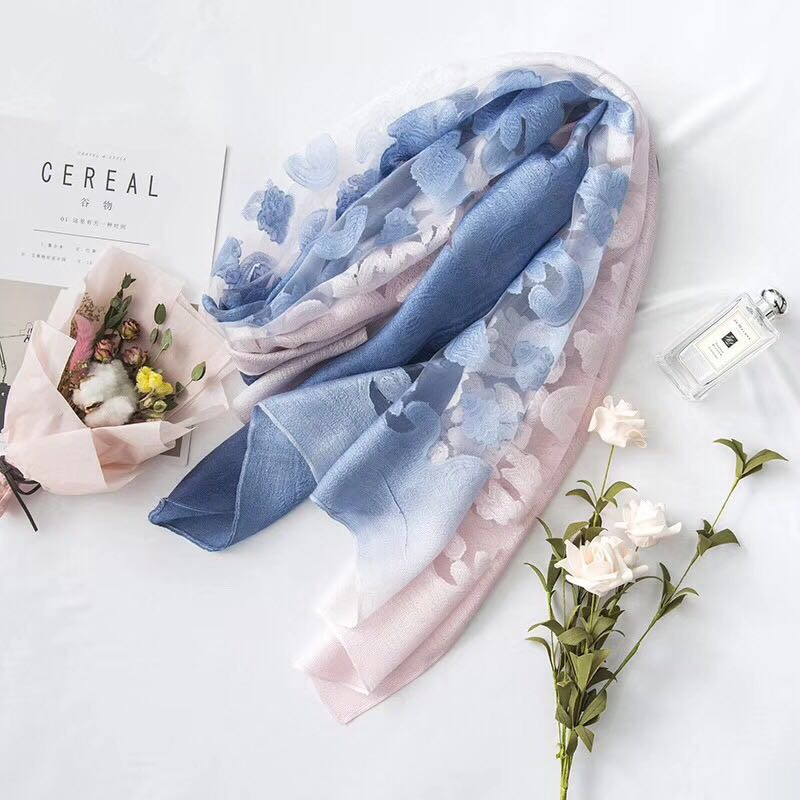 new arrival organza ombre color women gauzes flower shawls Muffler muslim hijabs long soft wrap headband scarves/scarf 180*65cm