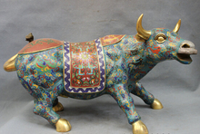 wholesale factory 20″ Chinese Bronze Cloisonne Animals Year Zodiac Dragon Strong Bull Ox Statue