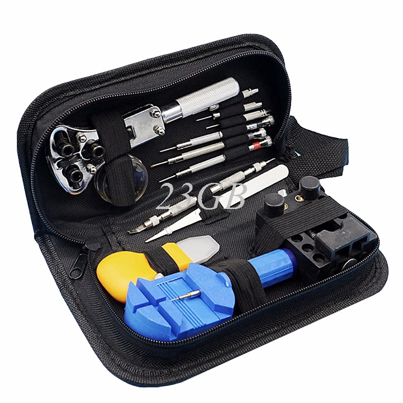 Black Multi-functional Canvas Watch Repair Portable Tool Bag Zipper Storage M02