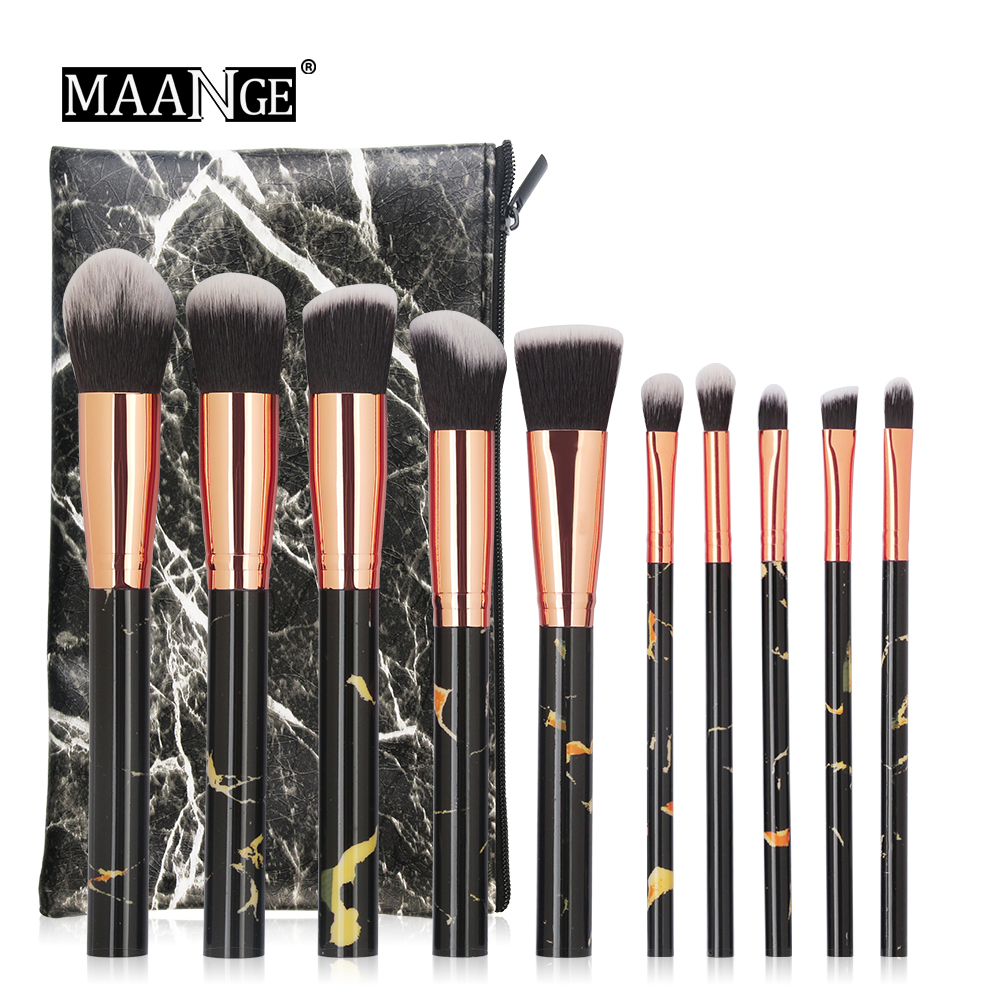 New Arrival Marble brushes 10pcs black Makeup brushes set beauty Make up brush & 1PC Cosmetic bag women blush Powder Foundation jessup brushes 10pcs rose gold black face makeup brushes set beauty cosmetic make up brush contour powder blush