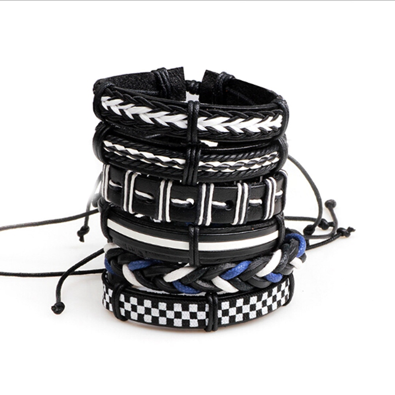 New Mode Style 6 Pcs/Set Rope Braided Bracelet Men Women Vintage Jewley Punk Genuine Leather Bracelet Personality Fashion Gifts