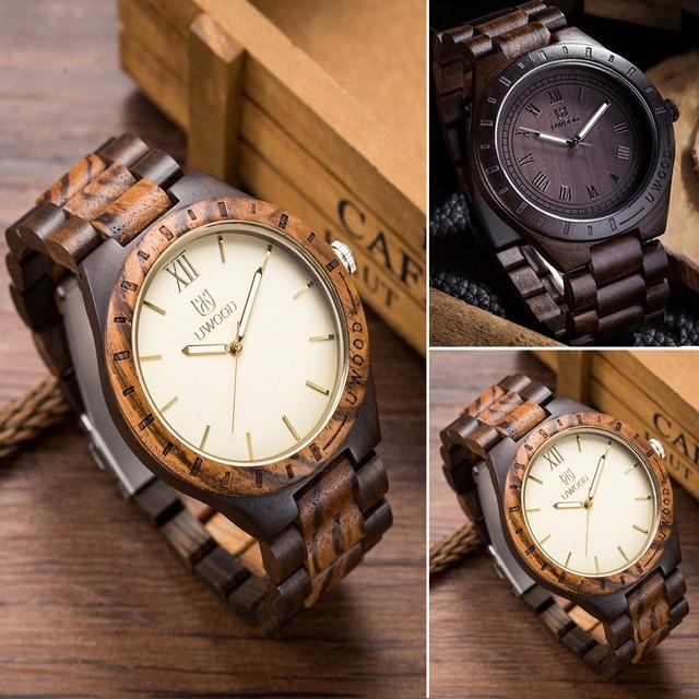2016 Hot Sell Men Dress Watch QUartz UWOOD Mens Wooden Watch Wood Wrist Watches men Natural Calendar Display Bangle Gift Relogio