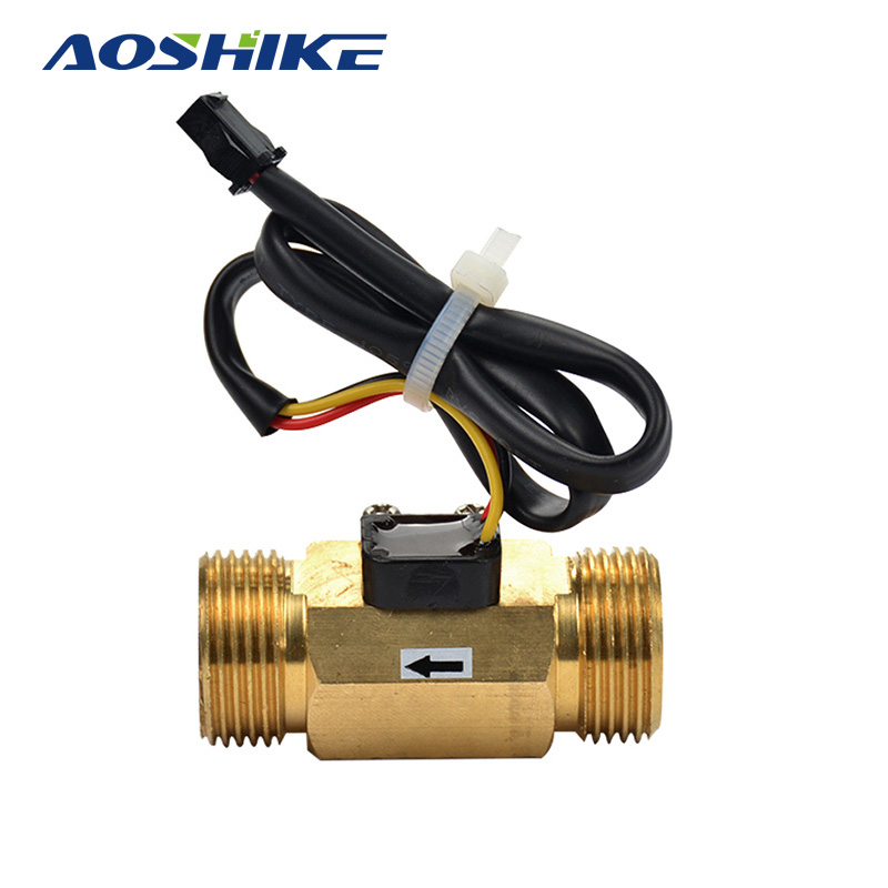 AOSHIKE 1pcs Copper G3/4 DN20mm 1-30L/min DC3V-18V Fuel Gas Water Flow Sensor Flowmeter Hall Inductive Switch Brass Body