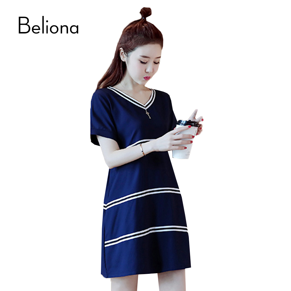 Mini Stripes Maternity Dress Blue Pregnancy Clothes 2017 Summer Maternity Clothing for Pregnant Women V-neck Dress