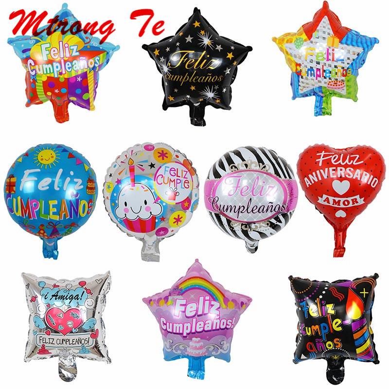 18 Inch Spanish Happy Birthday Round Shape Party Mylar Balloons Decoration
