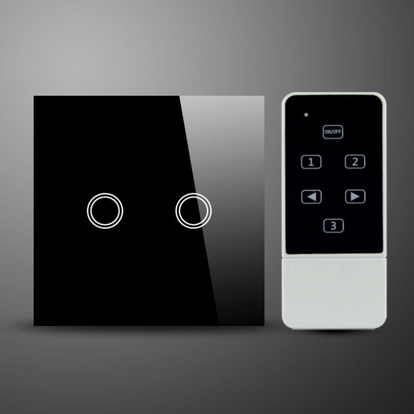 2 gang,RF 433MHz,UK standard,glass panel wireless remote light switch black color 2gang touch light switch with wireless remote control rf 433mhz glass panel smart wall touch switch uk type