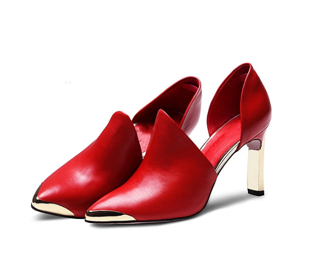 Hot Sale European Style font b Women b font Spring Shoes Sexy Medal Pointed Toe High