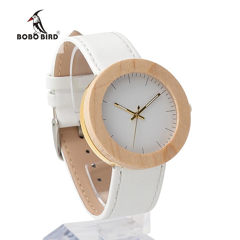Prix pour BOBO BIRD J27 Femmes de D'érable En Bois Montre-Bracelet Simple Cadran Blanc Or Cas Arrière En Acier Inoxydable Dames Montre orologio donna