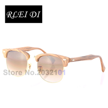 RLEI DI Highest Quality Retro Handmade Vintage Men Women Sunglasses Wood Grain Frame Gradient Glass Lens Eyewear Fashion Trend