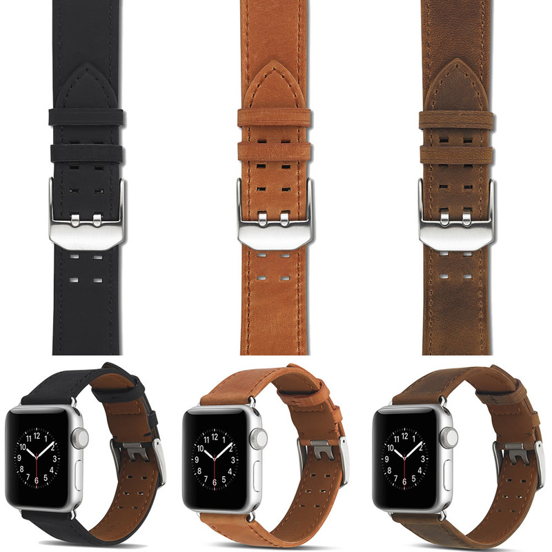 Watches Original Series 4/3/2/1 Real Genuine Leather For Apple Watch Band Strap For Iwatch Wristband 40mm 44mm 38mm 42mm Watchband Watchbands