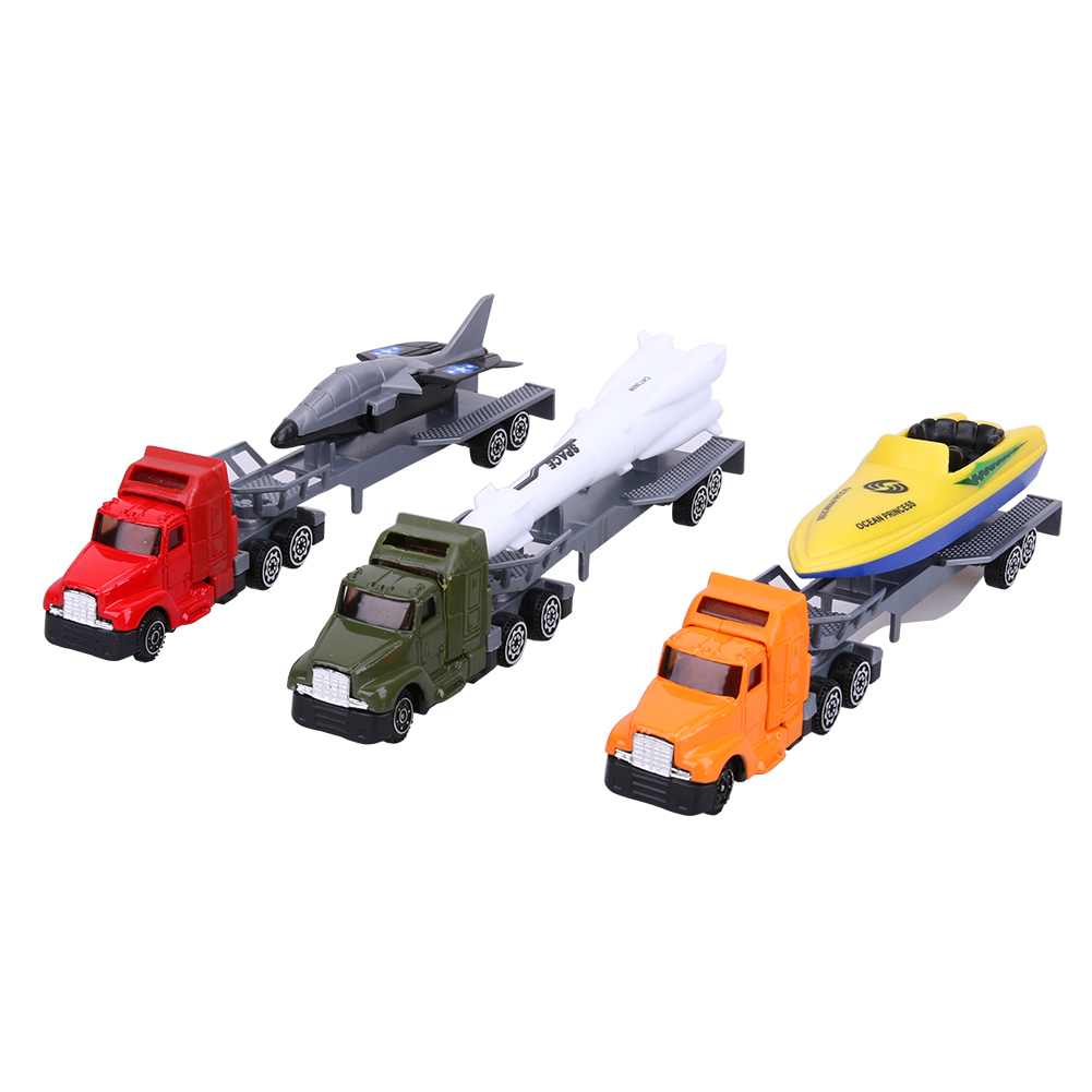 3pcs/set Force Control Alloy Car Model Kids Children Rocket Yacht Car Toy with Gift Box