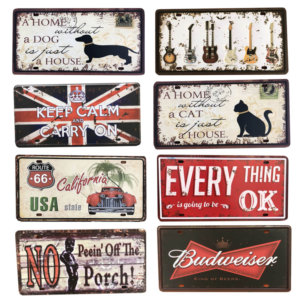 USA Vintage Metal Tin Signs Sign Route 66 Car Number License Plate Plaque Poster Bar Club Wall Garage Home Decoration 15*30cm