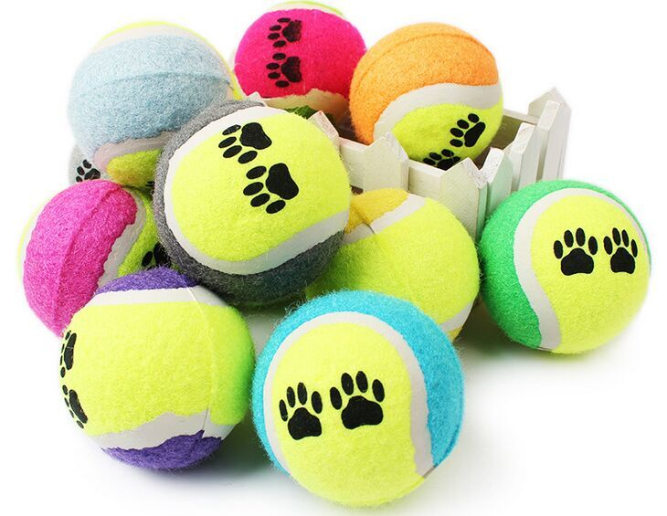 100pcs Candy color Dog Toy Tennis Balls Run Catch Throw Play Toy Chew Toys-in Dog Toys from Home & Garden    1