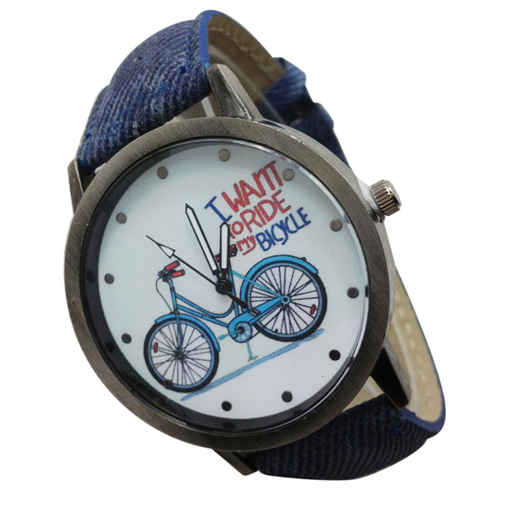 Vintage Watch Denim Bicycles Male And Female Students Couple Table Relogio Feminino Women Watches Reloj Mujer Bayan Kol Saati LD