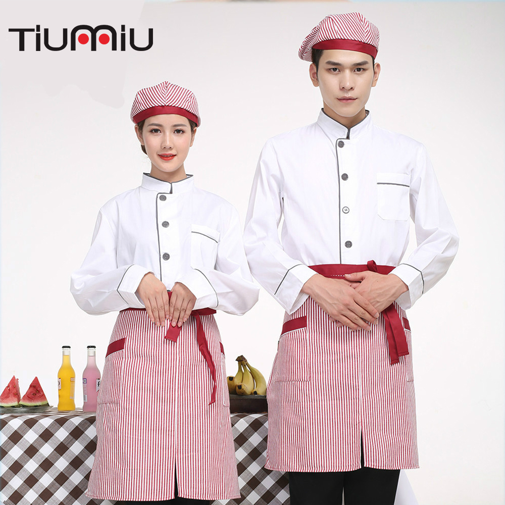 Wholesale Chef Uniforms Unisex Single-breasted Workwear Long Sleeves Catering Restaurant Waiter Work Uniforms Jackets XL-4XL