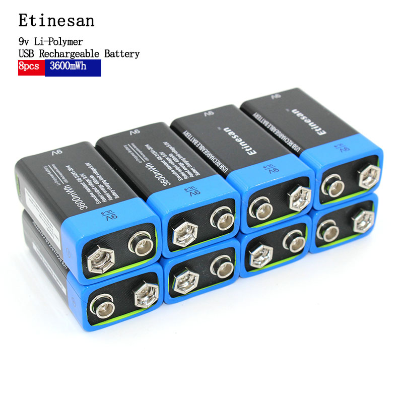 8pcs NEW battery Etiesan 9V 3600MWH lithium li-ion li-poltmer rechargeable battery Toy flashlight 8pcs 9v rechargeable 780mah lithium ion battery 1pcs smart charger with adapter